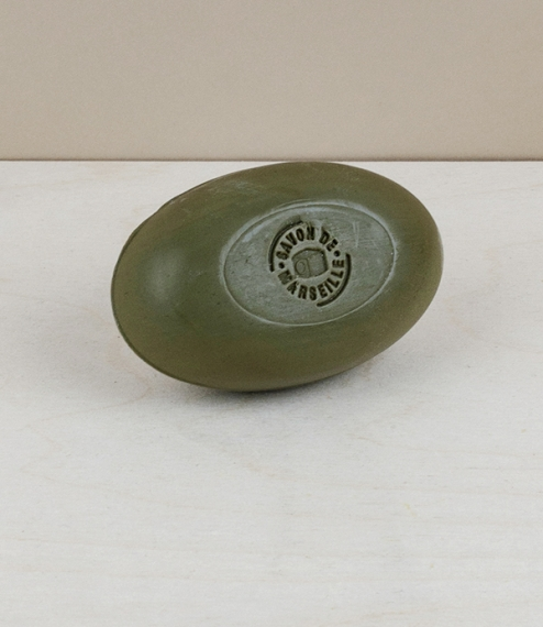 Oval bar of green savon de Marseille, 150g