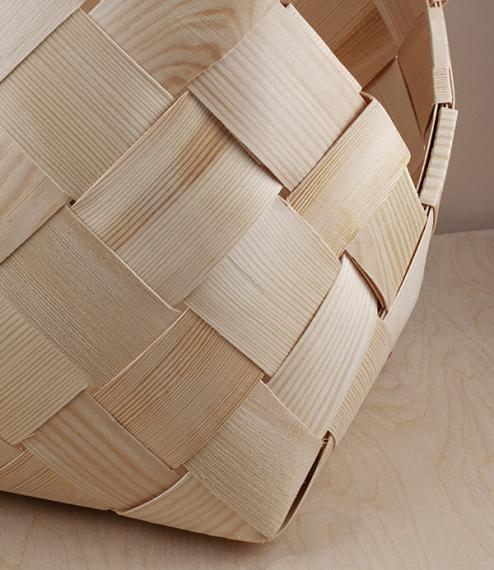 Finnish woven birch log basket