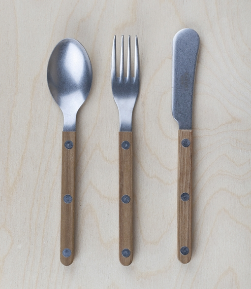 Classically modern bistro style small or additional dining cutlery made in France of tumbled high carbon 18/10 stainless steel riveted to elegantly si..