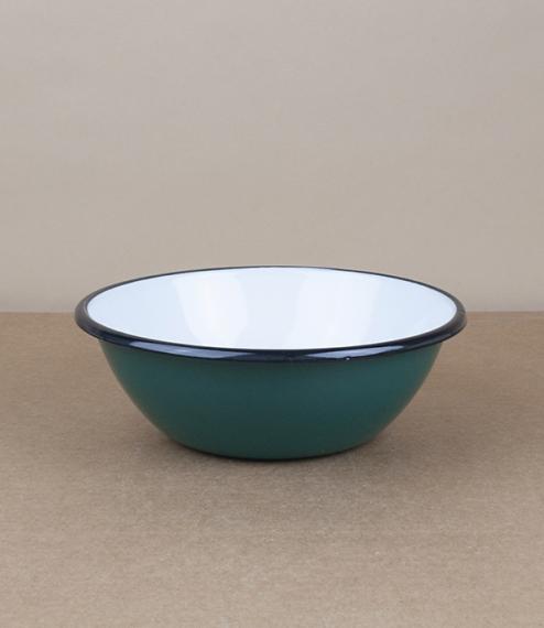 Ukrainian enamel bowl, 15cm, phthalo green