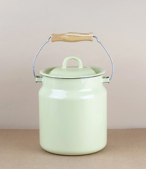 Ukrainian enamel milk can / kitchen caddy, pistachio