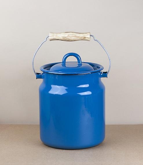 Ukrainian enamel milk can / kitchen caddy, deep phthalo blue