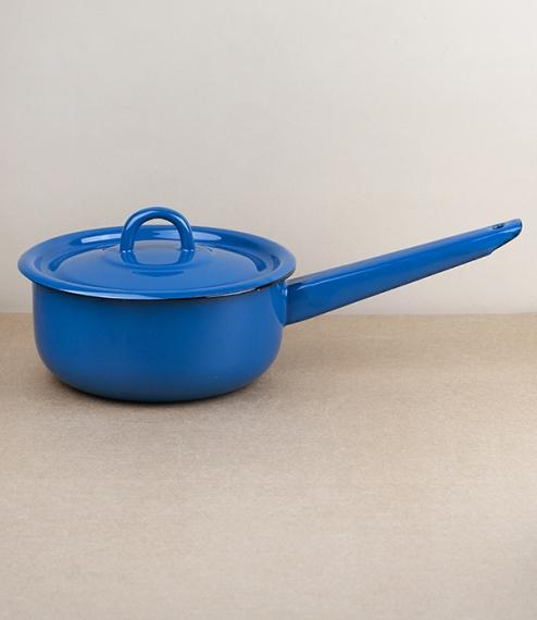 Ukrainian enamel lidded saucepan - blue