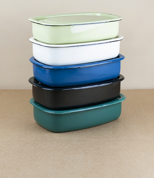 Ukrainian enamel cooking and storage boxes