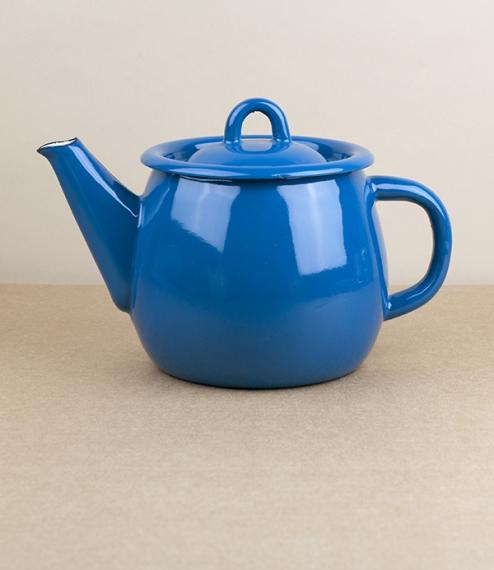 Ukrainian enamel teapot, blue