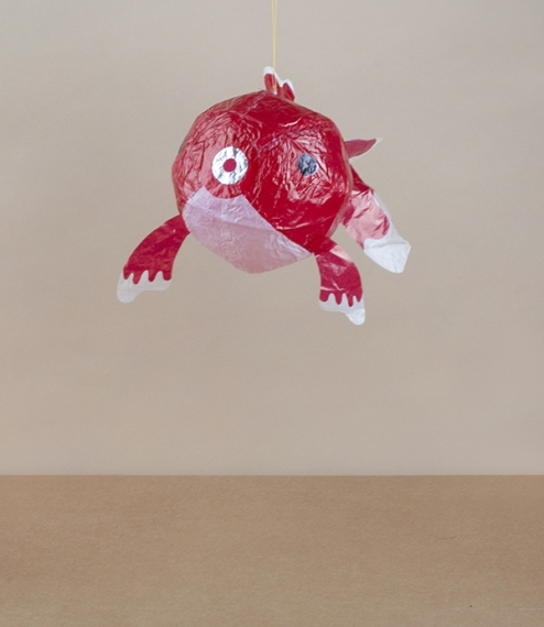 Red fish balloon, about 11cm diameter