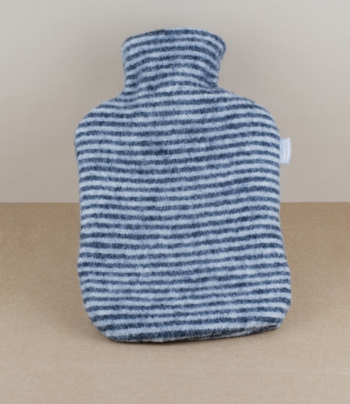 Finnish wool covered hot water bottle, black/white striped