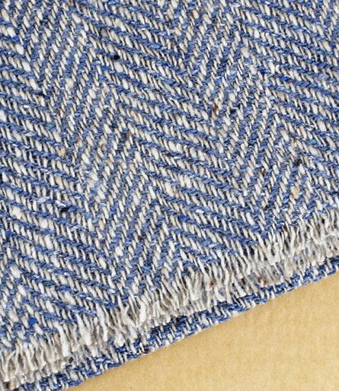 Textured herringbone merino, cashmere, and silk scarf – blue/grey