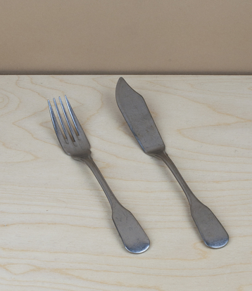 Stainless steel table cutlery from Brescia, Italy. Manufactured after patterns derived from archival designs and retaining the everyday practicality o..