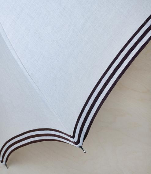 French linen fit-up parasol-umbrella, brown trim
