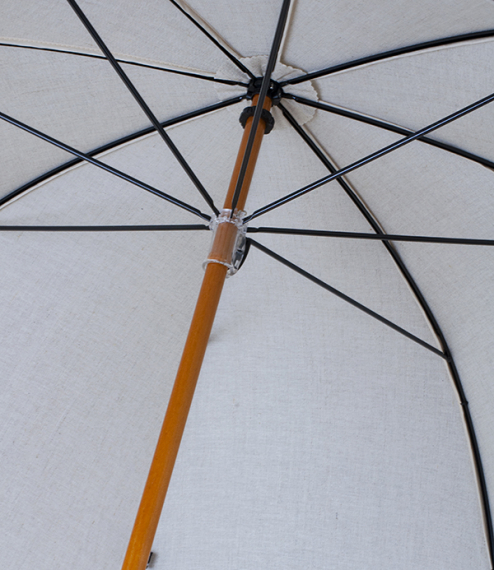 French linen fit-up parasol-umbrella, brown trim