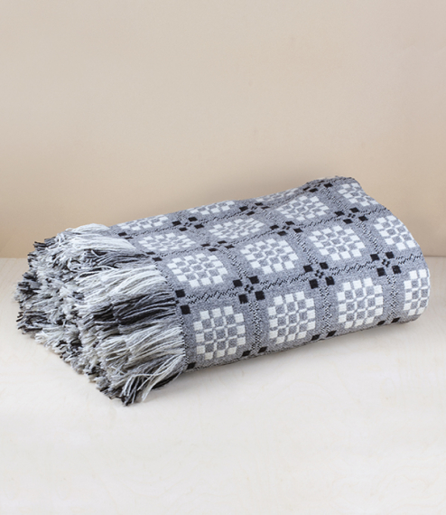 Welsh three colour natural tapestry blanket, Pennsylvania pattern, single