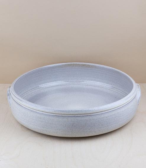 Portuguese terracotta low bowl, large, about 30cm diameter
