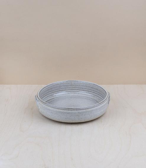 Portuguese terracotta low bowl, small, about 17.5cm diameter