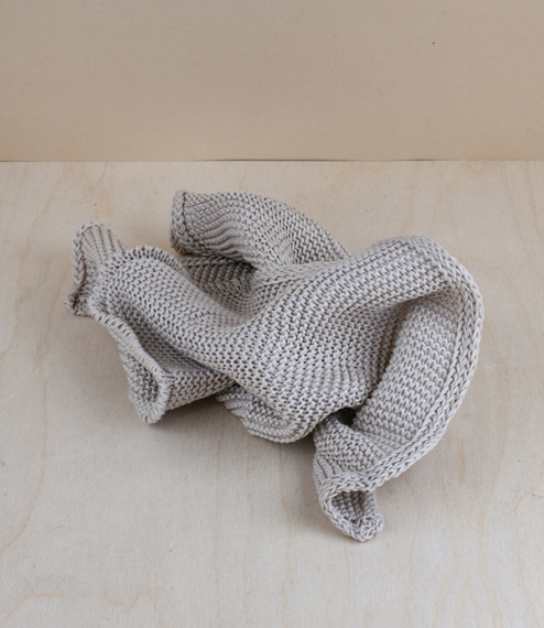 Knitted organic cotton towels and washcloth