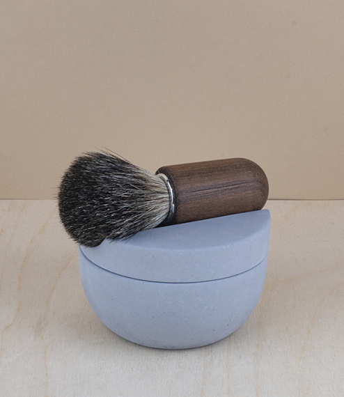 A choice of beech or walnut pure badger hair shaving brushes, 'soft' concrete cup, and handmade glycerine soap. Badger is renowned for its excellent l..