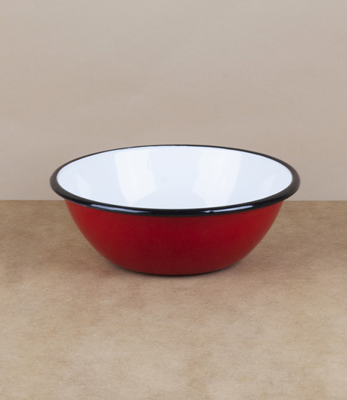 Ukrainian enamel bowl, 15cm, red