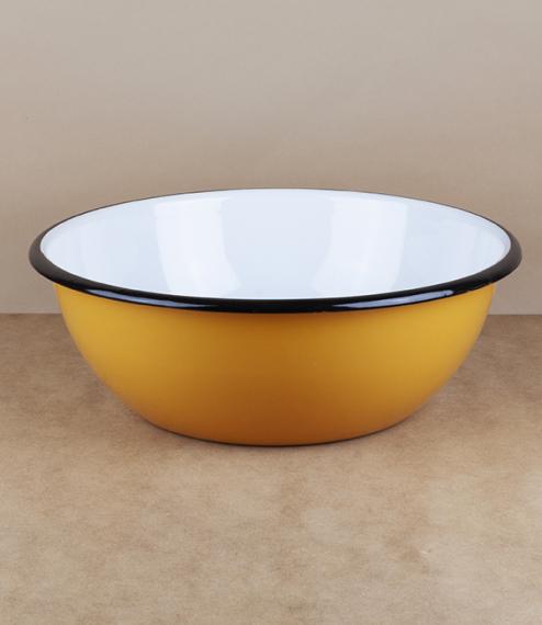 Ukrainian enamel bowl, 28cm, yellow