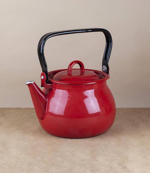 Ukrainian enamel kettle, 2 litres, red