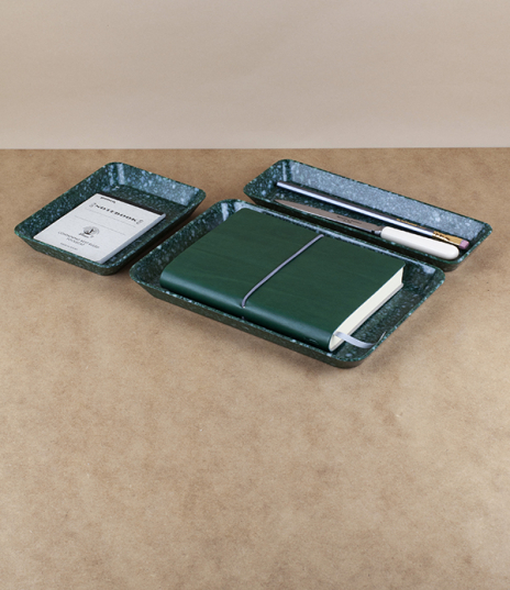 Deep green and white marbled desk trays of thermosetting melamine resin, made in Thailand for Hightide of Japan. In three sizes, a long narrow pen tra...
