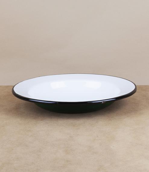 Ukrainian enamel deep plate, green, 24cm