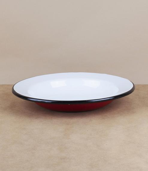 Ukrainian enamel deep plate, red, 24cm