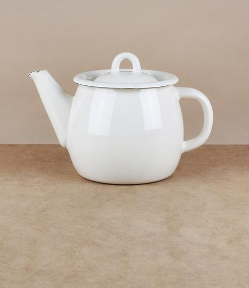 Ukrainian enamel teapot, cream