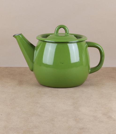 Ukrainian enamel teapot, grass green