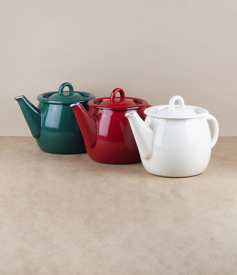 A choice of various coloured vitreous ceramic enamel teapots of approximately 1 litre, or more traditionally 6 cups capacity. Firing in a traditional ...