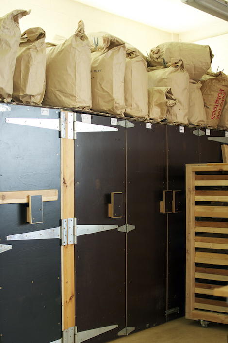 Botton drying room, where their bio-dynamic organic herbs, teas, and seeds are dried.