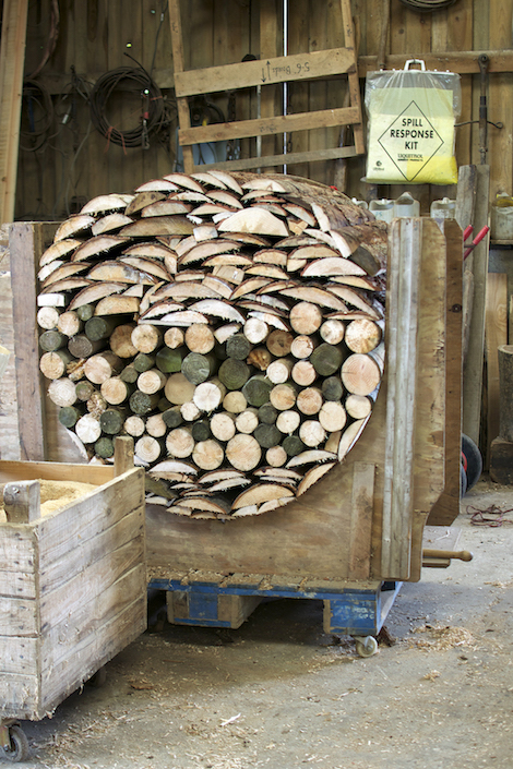 Cylindrical wood-stack.