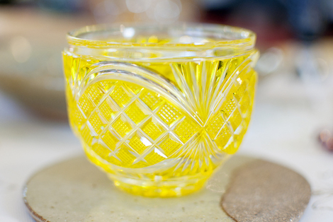 Citrus yellow tumbler from Satsuma Kiriko.