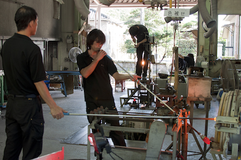 Glass blowing at Satsuma Kiriko.