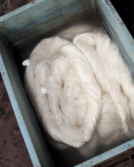 White silk thread ready for dying.