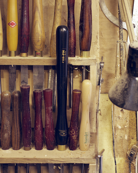 Various turning tools in Alistair Phillips's workshop.