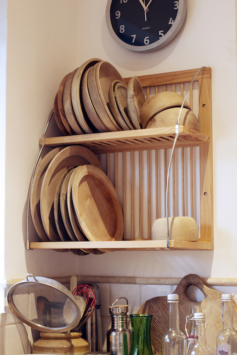 Wooden bowls and plate drying.
