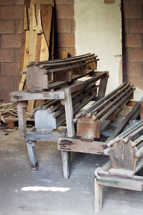 Formers used in the bending of the rakes' bows.