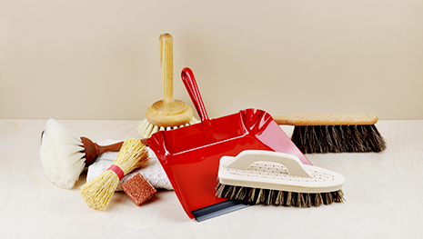 Objects for use whilst cleaning, brushes, dusters, mops and buckets, brooms from Europe and Japan.