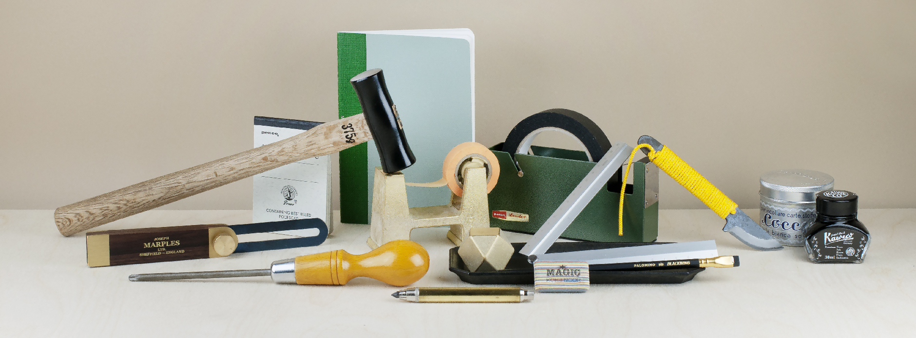 Archetypal objects of use in the office, in the study or library. Writing implements, study aids, tools for household repair, construction and fabrication