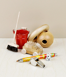 Objects of use by children and babies, teething toys, toys for creative play, musical things, puzzles and games.
