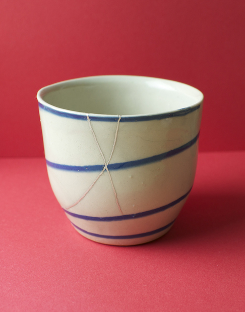 A Camphill Grange village beaker repaired using the kintsugi technique