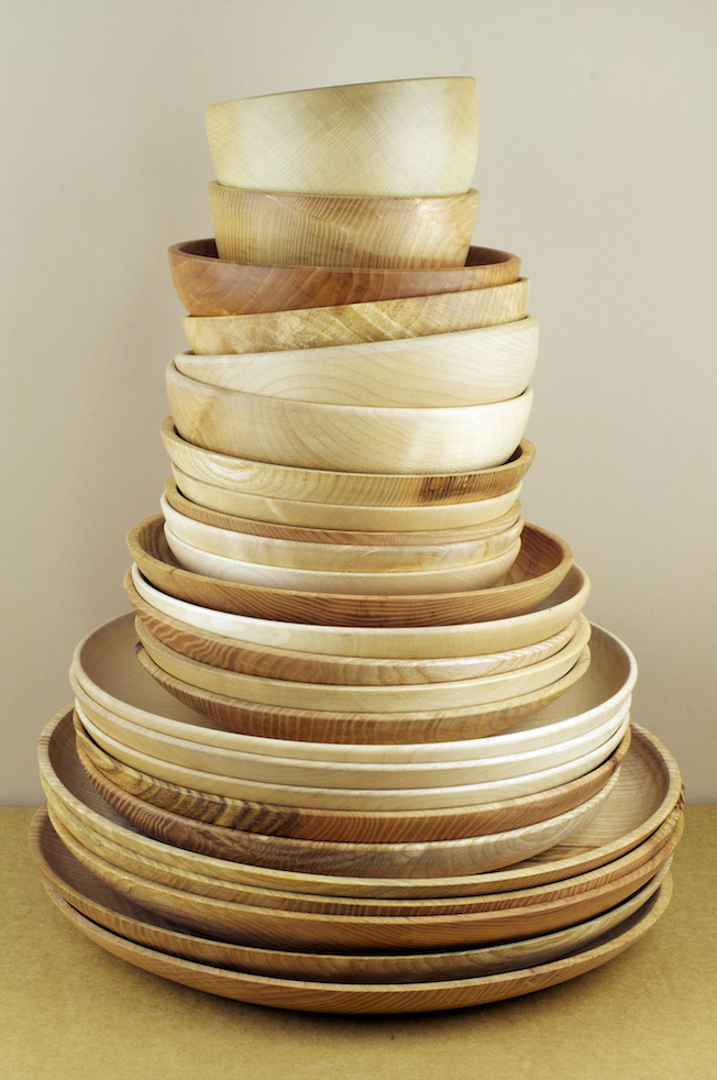 Turned wooden bowls and plate from Alistair Phillips.