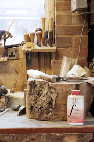 Tools and finishing products in Alistair Phillip's workshop.