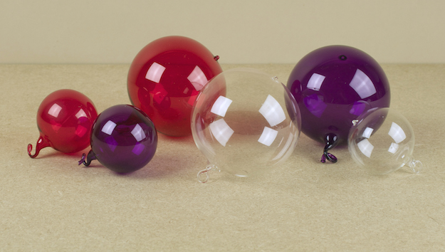 Coloured and clear glass baubles