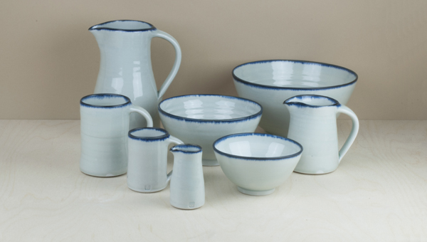 A collaboration between the Leach Pottery and Objects of Use, this hand thrown porcelain has a slightly blue toned ying ching glaze brushed around the..